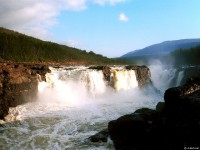 Waterfall on Kureika river is the most powerfull on the plateau